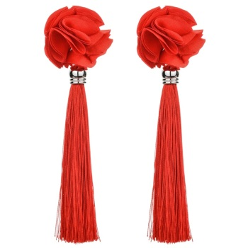 macrame rose earrings