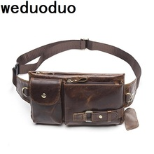 Weduoduo Genuine Leather Men Waist Packs Fanny Pack Belt Bag Phone Pouch New Travel Male
