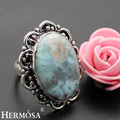 Hermosa Jewelry Huge Rare Natural Blue  Larimar 925 Sterling Silver Engagement Rings 7.5# HM107