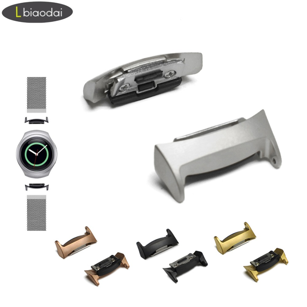 A Pair Connector For Samsung Gear S2 Band Adapter 20mm Smart Watch WatchBand Stainless Steel Adapter For Samsung Gear S2 R-720