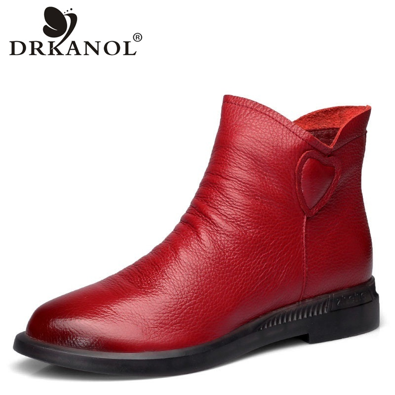 DRKANOL British Style Genuine Cow Leather Women Ankle Boots Autumn Fashion Pleated Zipper