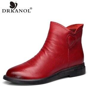 Image 1 - DRKANOL בריטי סגנון אמיתי פרה עור נשים קרסול מגפי סתיו אופנה קפלים צד רוכסן קצר מגפי נשים דירות נעליים
