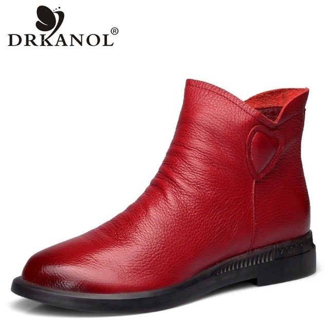 DRKANOL בריטי סגנון אמיתי פרה עור נשים קרסול מגפי סתיו אופנה קפלים צד רוכסן קצר מגפי נשים דירות נעליים