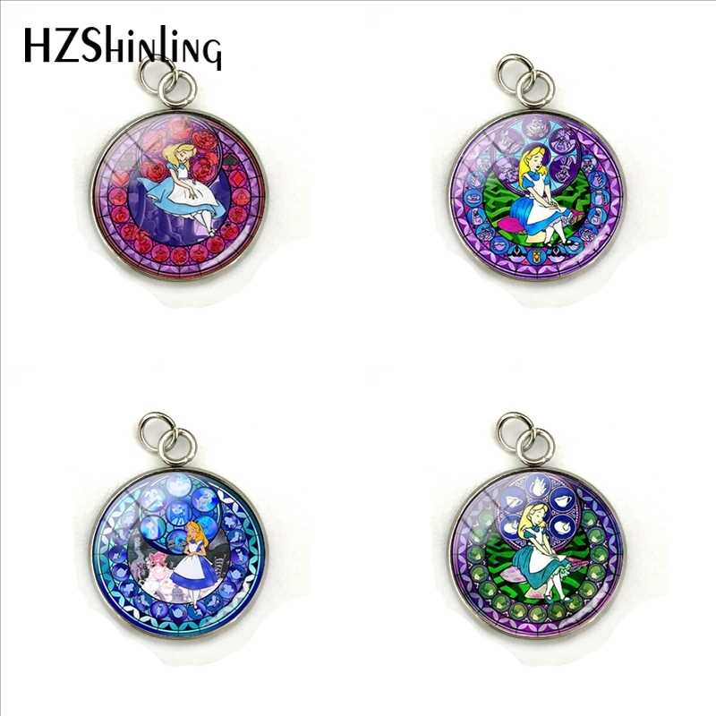 2019 New Kingdom Hearts Alice Charm Pendant Handcraft Round Alice in Wonderland Glass Cabochon Stainless Steel Pendants Jewelry
