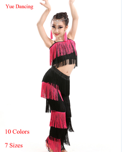 Great Gatsby Dress Robe Danse Latine Femme Fringe Tassel Dance Costumes For Kids Latin Salsa Pants Girls Ballroom Dancing Wear(China)