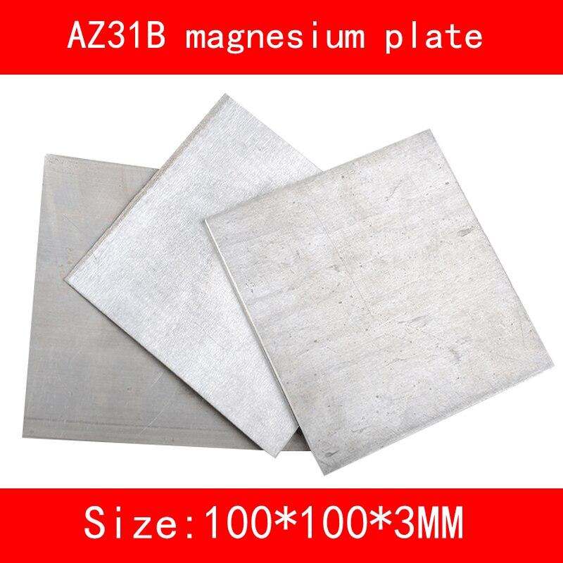size:100mm*100mm*3mm AZ31B Magnesium alloy plate Mg metal sheet size length width thickness 100mm 100mm 3mm wear resistant high temperature resistance peek plate sheet