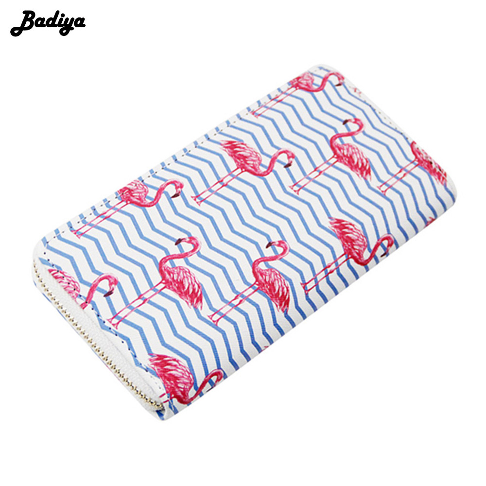 Badiya Flamingo Print Cartoon Long Clutch Wallet For Women Zipper Design Girls School Wallet PU Leather Ladeis Female Purse flamingo print placemat
