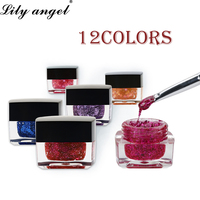 Lily angel High Quality 12bottles Big Sequin UV Gel Glitter Color Gel Varnish nail Art 12 color Supper Diamond Shining Paint Gel