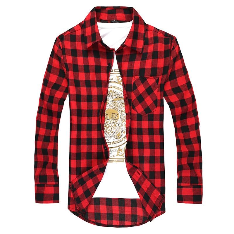 Camisa de xadrez masculina camisa de manga comprida masculina para baixo camisa de verificação casual 2019 outono