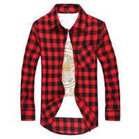 Camisa a cuadros para hombre camisa Social 2019 otoño para hombre camisa a cuadros de manga larga para hombre camisa