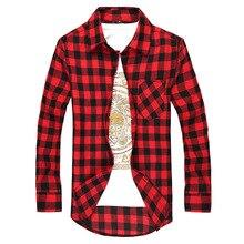 Los hombres de camisa a cuadros Camisas Social 2019 Otoño de moda de los hombres de manga larga a cuadros camisa hombre botón abajo de cheque camisa