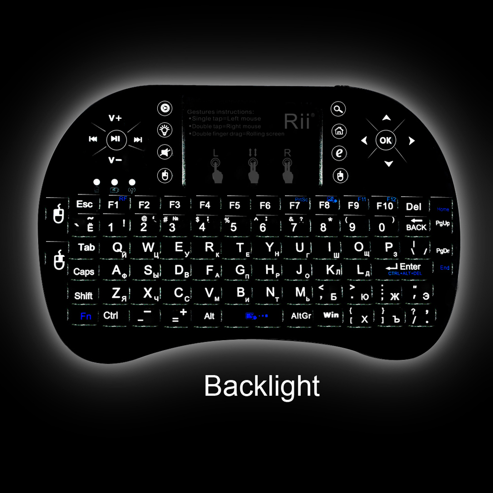 Rii mini i8+ 2.4G Wireless Keyboard Backlit English Hebrew Russian Spanish TouchPad Mouse Combo for PC HTPC IPTV Android TV Box 2 4g mini wireless keyboard mouse with touchpad for pc android tv htpc