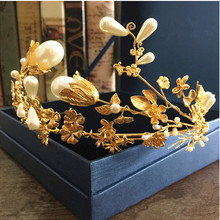 2016 hojas de oro de lujo Barroco flor tiaras corona nupcial de la boda accesorios para el cabello diadema de perlas de las mujeres elegantes joyas femme