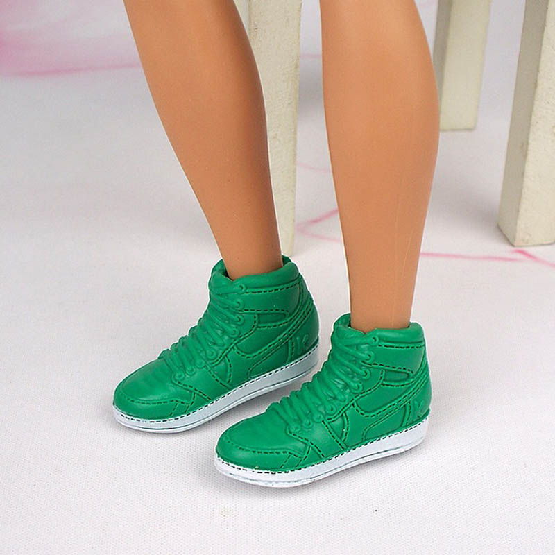 Green White Basketball <font><b>Doll</b></font> <font><b>Shoes</b></font> for Ken Boy <font><b>Dolls</b></font> Sports <font><b>Shoes</b></font> for Barbie's Boyfriend Ken <font><b>1/6</b></font> Dollhouse Accessories Kids Toys image