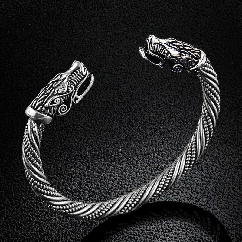 Купить на aliexpress LAKONE Волчья Голова браслет индийские ювелирные изделия Модные аксессуары Викинг мужские часы наручные браслеты на запястье для женщин брас...