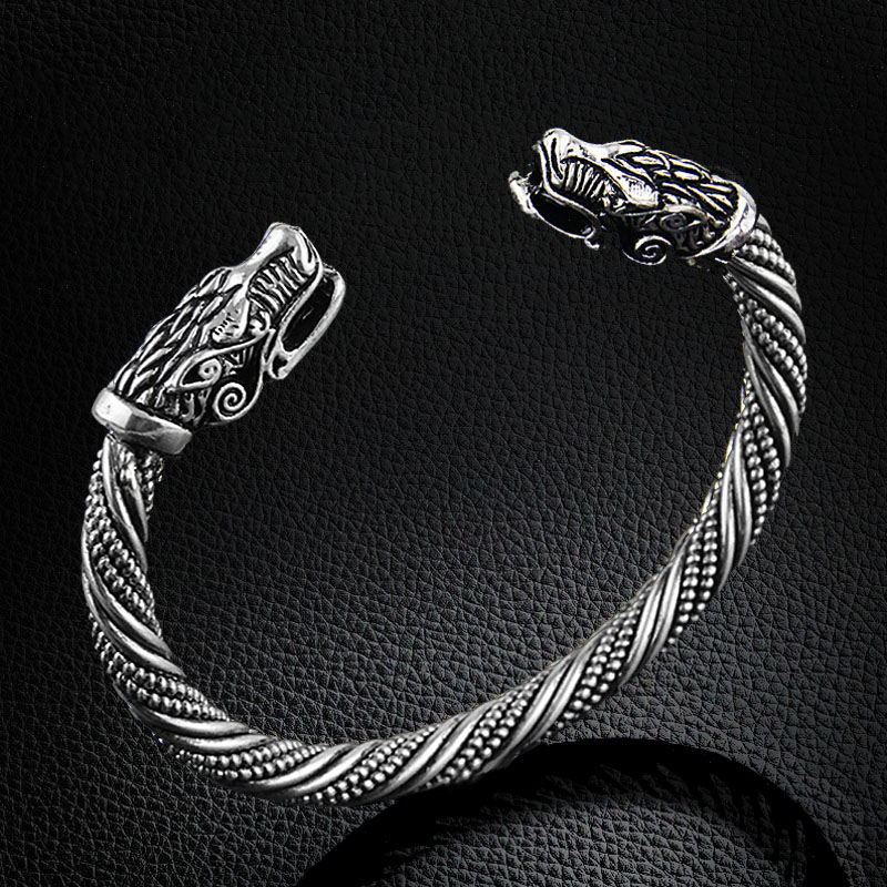 LAKONE Teen Wolf Head Armband Indian Jewelry Fashion Accessories Viking Armband Heren Polsband Manchet Armbanden Voor Vrouwen Armbanden