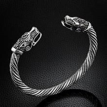 LAKONE teen Wolf głowa bransoletka Indian biżuteria moda akcesoria Viking bransoletka mężczyźni nadgarstka bransoletki bransolety dla kobiet Bangles tanie tanio Klasyczny Metal Unisex Zwierząt Antique Silver Plated Brak Żelaza Prezent About 65mm