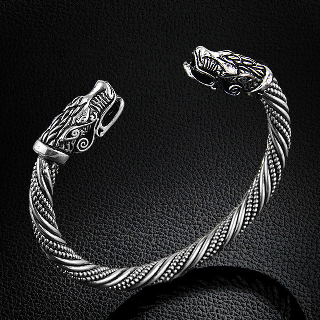LAKONE וולף ראש צמיד הודי תכשיטי אופנה אביזרי ויקינג צמיד גברים צמיד קאף צמידים לנשים צמידים