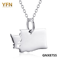 GNX8755 I Love Washington Genuine 925 Steling Silver State Necklace Personalized Jewelry Wastington State Map Pendant