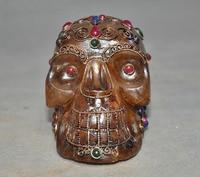 christmas Rare Tibet Buddhism Crystal Silver Filigree inlay gem Skeleton Skull Head Statue halloween