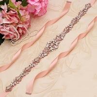 Yanstar Rhinestones Belt Bride Opals Belt Handmade Rose Gold Crystal Belt For Wedding Dress 35WB935
