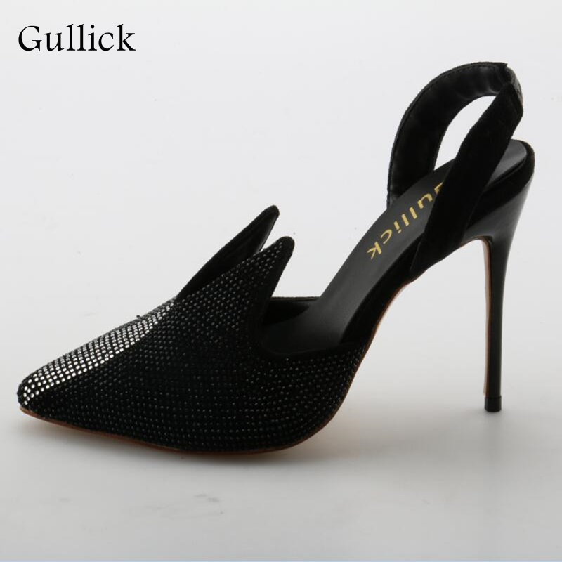 Fashion Comfertable Black High Heel Sandals Woman Bling Pointed Toe Bank Strap Shoes Sexy Elegant Summer Dress Party Sandals купить