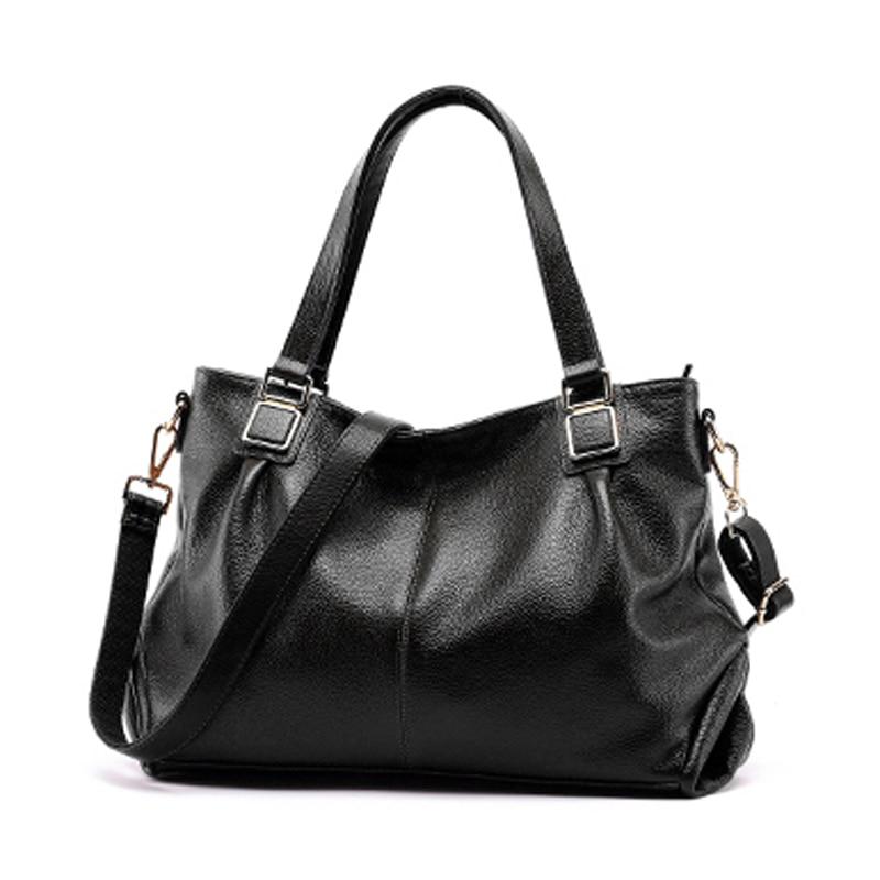 2018 Genuine Leather Women Bag\Handbag Luxury Fashion Retro Tote Bag Cowhide ladies' Shoulder bag\Messenger Bag Big Capacity luxury fashion retro 100% genuine leather women shell bag handbag cowhide shoulder bag tote bag 13b58