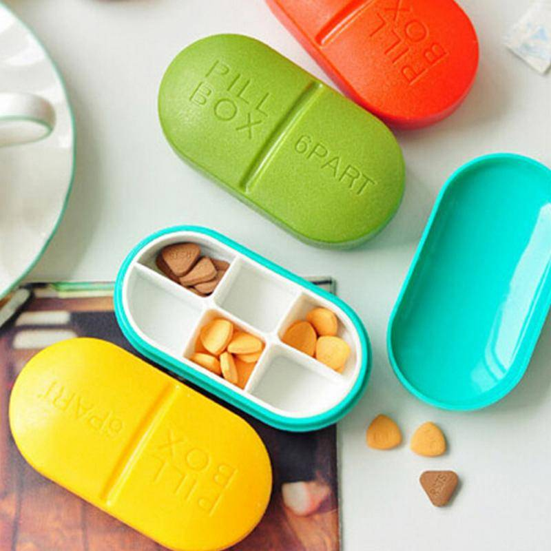 1 шт. Портативный Pill Box случае медицина мини 6 слотов Медицина Дело наркотиков таблетки случае мило круглый эллипс форме таблетки разветвите...