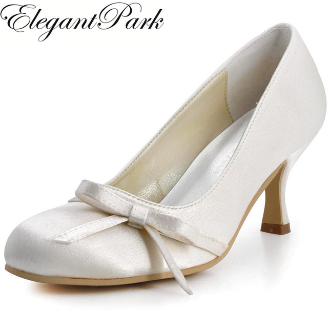 d85abbbb299 Shoes Woman A0756 Ivory White Round Toe Mid Heels Bow Satin Bride  Bridesmaids Prom Evening Pumps Women Wedding Bridal Shoes