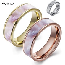 Two Color Fashion 316L Stainless steel jewelry Ring Natural Shell Wedding Rings for Women недорого