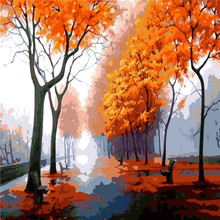 Autumn Trees Oil Painting By Numbers DIY Abstract Digital Picture Coloring On Canvas Unique Gift Home Decoration 2017