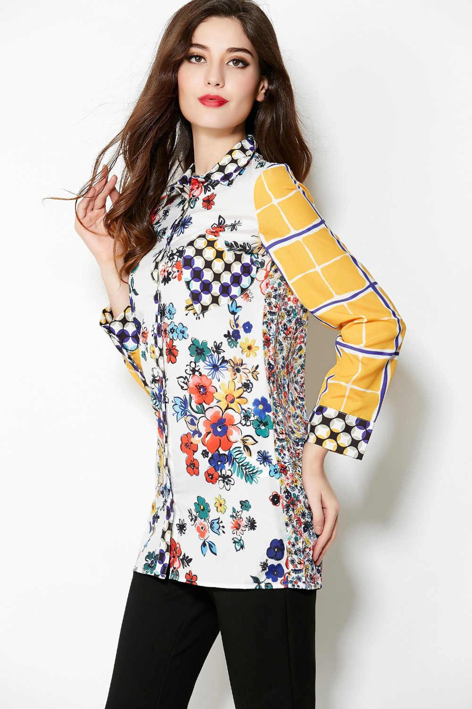 Décontracté 2015 nouveauté mode européenne femmes coloré petite fleur imprimé manches longues jaune col rabattu chemise