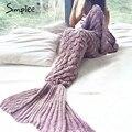 Simplee escalas sereia cauda Crochet cobertor Quente natal malha de inverno bonito envoltório cama Crianças adulto handmake sofa TV saco de dormir