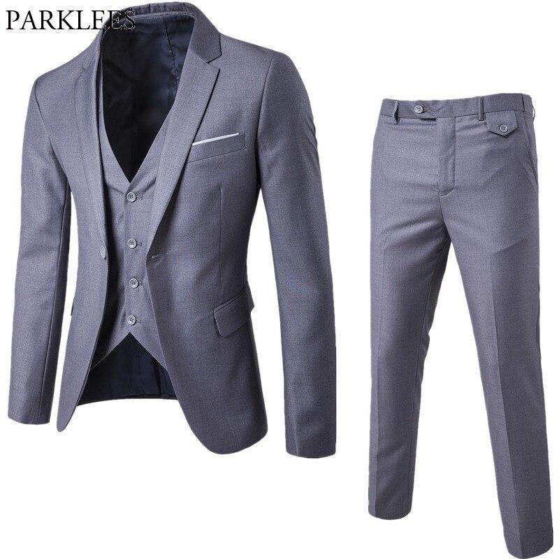 022c4470166cb Szary mężczyźni Slim FIt jeden przycisk 3-sztuka garnitury blezer ze  spodniami 2019 nowy biznes