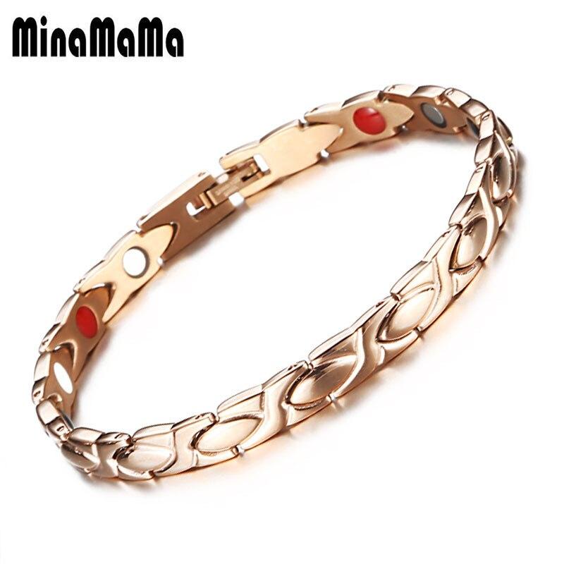 9344d1d8b17a Pulseras magnéticas para mujer hombre Rosa oro color cadena Acero  inoxidable germanio Far ...