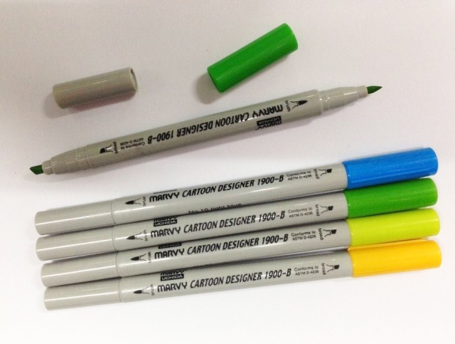 New Arrival!!! Marvy 1900B alcohol based brush art markers fine tip and brush tip