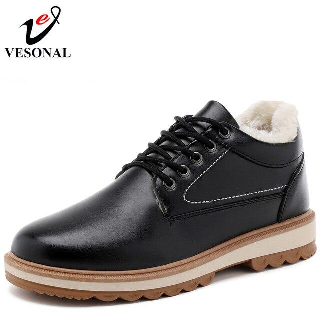 VESONAL ブランド 2018 冬暖かい毛皮の男性の靴男性のための大人カジュアルスニーカー快適なデザイナーウォーキングで人気のある履物 D106