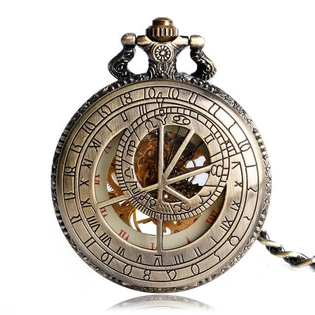 YISUYA Hollow Pendant Pocket Watch Men Prague Constellation Mechanical Hand Wind