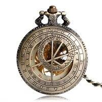 YISUYA Hollow Reloj de Bolsillo Pendiente Hombres Praga Constelación Mano Mecánica Winding Cobre Brújula Mujeres Navidad Regalo de Navidad