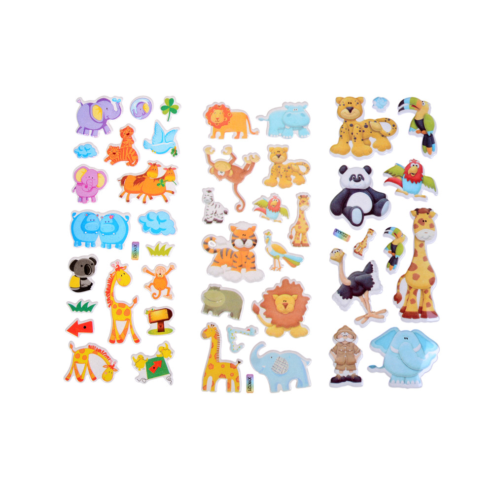 Cartoon Animals Zoo 3D Stickers Children Girls Boys PVC Stickers Kids Toys 7.2*17cm