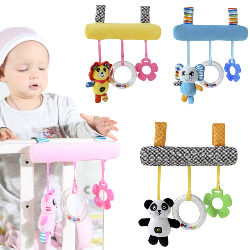 Babyplay Brinquedo Música Cama Assento De Segurança Pendurado Brinquedo De Pelúcia Rattle Bell Multifuncional Plush Stroller Mobile Presentes 20% de desconto