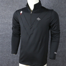 Зимние толстые Для мужчин PG Тренировка по гольфу футболки жемчужный ворота с длинным рукавом Спортивная одежда на молнии воротник футболка для гольфа 2 цвета