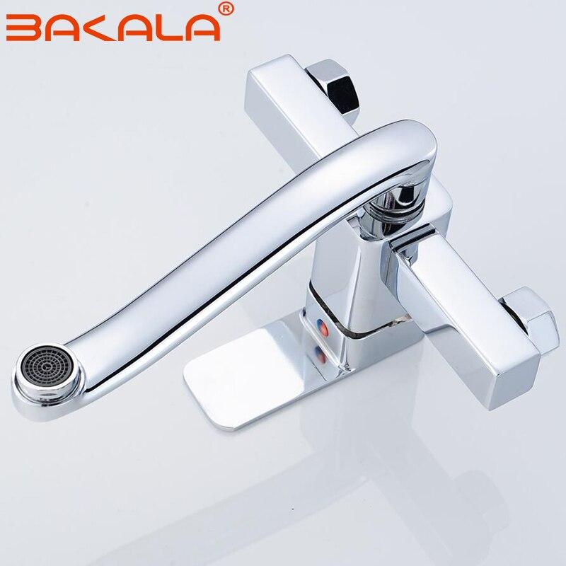 BAKALA robinet de cuisine mural mitigeur de cuisine robinets double trous robinet d'eau chaude et froide 360 degrés de Rotation - 4