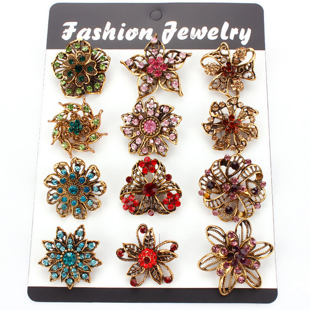 Factory Direct Sale Pack of 12 Pieces Women Crystal Flower Brooches Clothes Pins Accessories or DIY Wedding Bouquets Pins XD5465