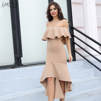 Adyce 2019 Summer Celebrity Evening Party Dress Sexy Clubwear Elegant Pink Slash Neck Patchwork Ruffles Midi Women Dress Vestido