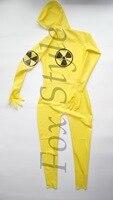 Латекс прозрачный комбинезон Мужской Резиновая боди желтый цвет сексуальная жизнь RPG Армия Человек униформа косплей химических солдат жен