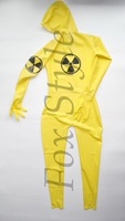 Latex transparent catsuit male's rubber bodysuit yellow color SEXY LIFE RPG army man uniforms cosplay chemical soldier woman