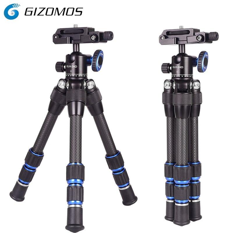 GIZOMOS C-17 2 In 1 Tripod And Head Mini Profesional Flexible Carbon Fiber Tripod Lightweight Tripod For Dslrs Smartphones