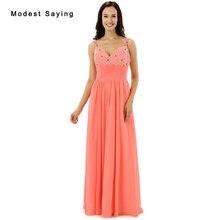 35f61a581 Compra sexy chiffon coral formal dress y disfruta del envío gratuito ...