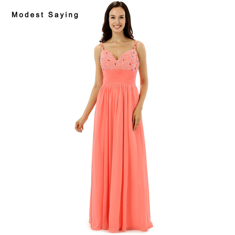 New Arrival 2017 Fashion Coral Beaded   Evening     Dresses   with Straps Sexy Long   Evening     Dresses   Engagement Chiffon Party Prom Gowns